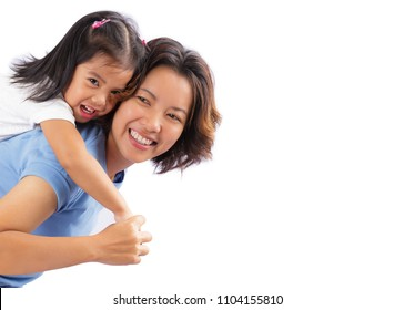 Happy mother and daughter piggybacking together isolated on white background