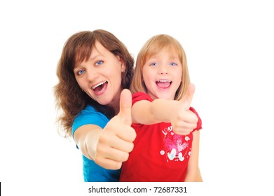 Happy mother  and dauther showing okay sign isolated over white