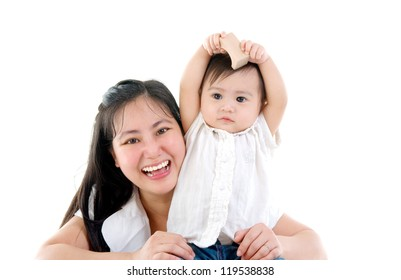 happy mother having fun with baby girl