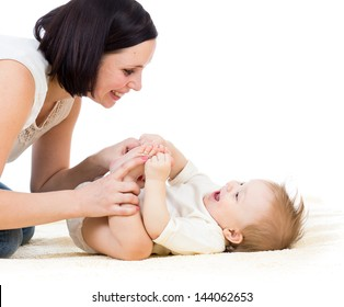 happy mother having fun with her son baby