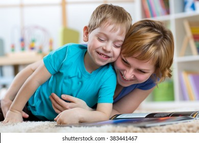 Happy mother and her kid son spend time together