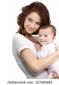 happy mother holding baby smiling studio shot isolated on white