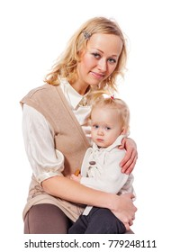 Happy mother holding daughter posing isolated on white