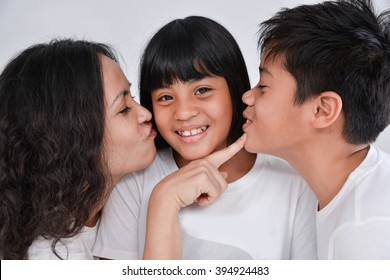 happy mother and kids smiling having a fun - isolated over a white background