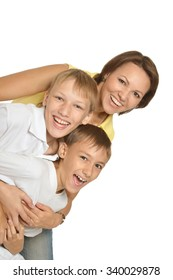 Happy mother with the sons on a white background