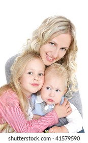 happy mother with two children over white