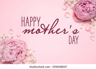 어머니 날을 축하합니다. 어머니 날을 축하합니다. 분홍색 배경에 있는 아름다운 모란 꽃들, 평평한 누워