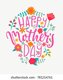 Happy Mother's day card with handdrawn lettering. Raster copy.