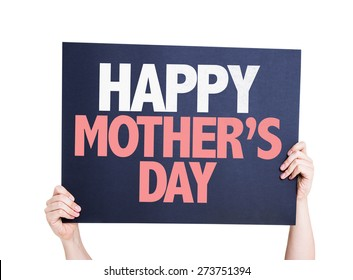 Happy Mothers Day card isolated on white