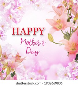 Happy mother's day card with pink background and beautiful cherry flowers for your design and home decor