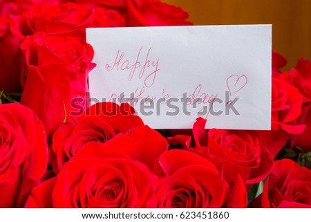 Happy Mothers Day Flowers BackgroundMothers Greting Card Red Roses Bouquet