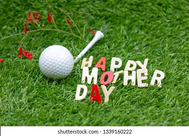 Happy Mother's day to golfer with golf ball on green