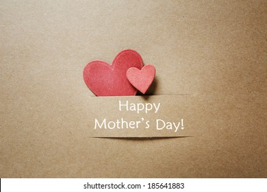 Happy Mothers Day message with handcrafted hearts