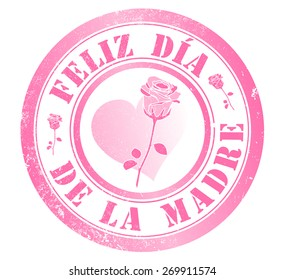 happy mothers day stamp, in spanish language