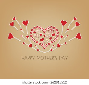 happy Mothers day with wings hearts