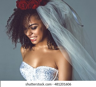 happy mulatto bride