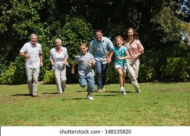 Happy multi generation family running towards camera in the park on sunny day
