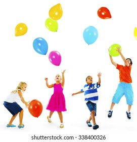 Happy Multi-Ethnic Children Playing Balloons Together