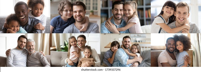 Happy multiethnic young adult and old daddies hugging children looking at camera. Smiling african and caucasian dads posing with kids for family faces headshots portraits. Fathers day concept. Collage