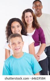 happy multiracial family of four studio portrait