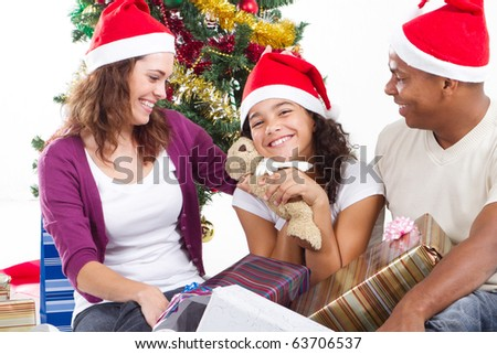 Happy Multiracial Family Gifts Christmas Stock Photo (Edit Now ...