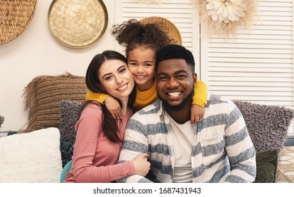 Happy multiracial family portrait. Stay at home during covid-19