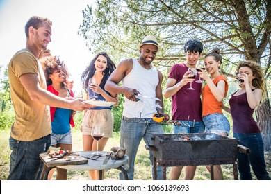 Happy multiracial friends having fun at picnic barbecue garden party