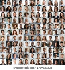 Lot of happy multiracial people looking at camera in square collage mosaic. Many smiling multiethnic faces of young and old diverse ethnic business people group headshots. Hr, staff, society concept.