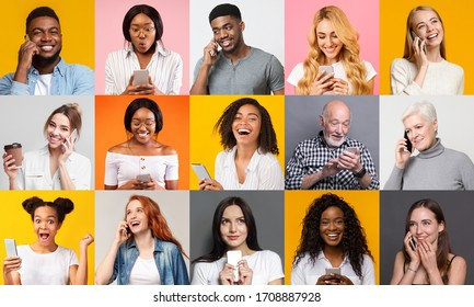 Happy multiracial people using mobile phones on color background, creative collage