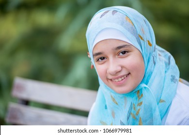 Happy muslim girl outdoor