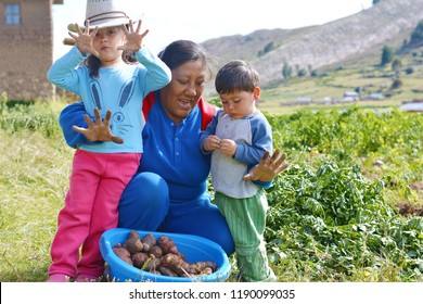 Happy native american family on the potato field showing dirty hands.