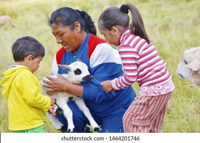 Happy native american family taking care of a little lamb.