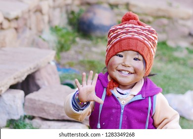 Happy native american toddler in the countryside.