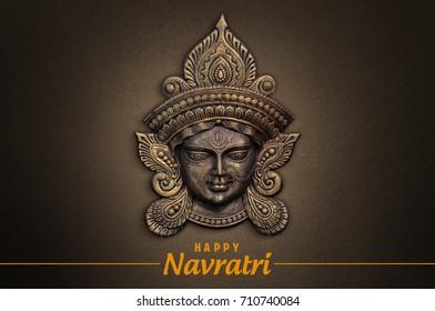 Happy Navratri, Durga Pooja, Maa Durga face in Metal
