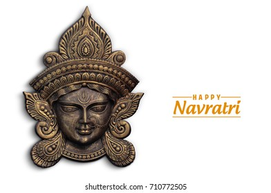 Happy Navratri, Durga Pooja, Maa Durga Face in Metal