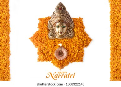Happy Navratri, Durga Pooja, Marigold Flower Petals Decoration, Maa Durga face in Metal