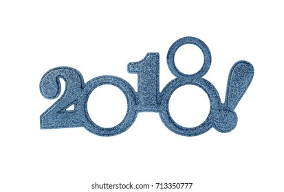 Happy New 2018 year in blue tones.