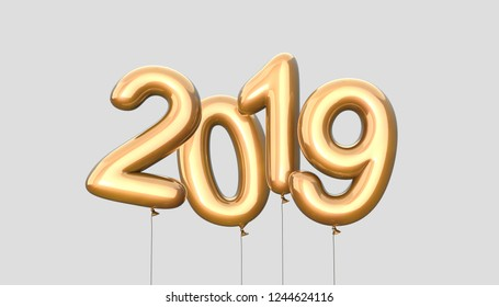 Happy New 2019 Year. Holiday vector illustration of silver and golden metallic numbers 2019. Realistic 3d sign. Festive poster or banner design