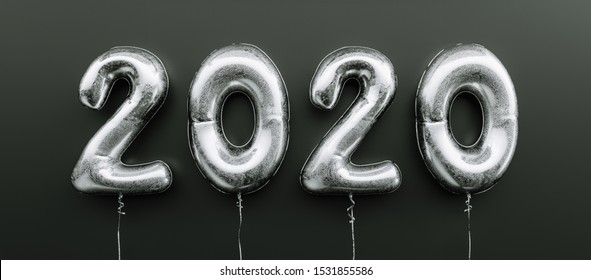 Happy New 2020 celebration. Silver foil balloons numeral 2020 on black background