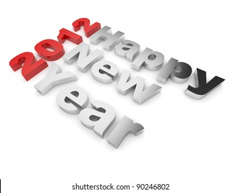 Happy New year 2012 text. 3d illustration isolated on white