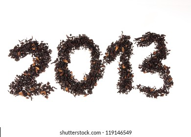 Happy New Year 2013. Number written with berry's tea leaves