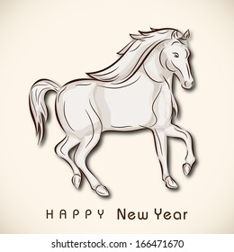Happy New Year 2014 celebration flyer, banner, poster or invitation with illustration of Horse, Chinese symbol of the year on abstract background.