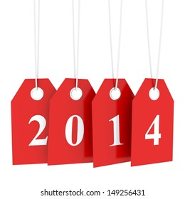 Happy new year 2014, low prices and many promotions - hanging red labels