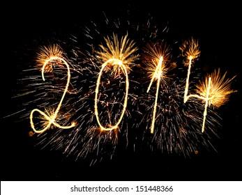Happy New Year 2014 sparklers firework