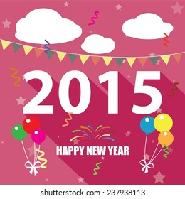 Happy New Year 2015 celebrations decorated with colorful ballon, stars, cloudy and ribbon decorated pink background for Happy New Year celebrations.