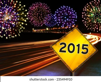 Happy New Year 2015 fireworks and city cars highway lights with yellow road sign. Greeting card design background.