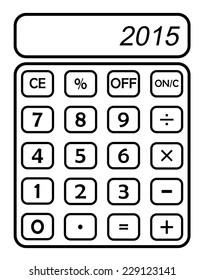 happy new year 2015 on blank calculator white background, isolated