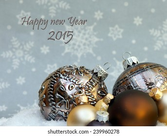 happy new year 2015 wishing card with stars and christmas decorations