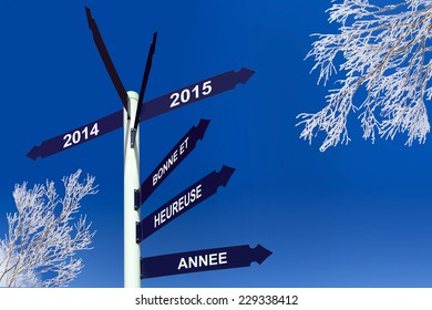 Happy new year 2015 writeen in French on direction panels, snowy trees