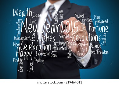Happy New Year 2015-Word arrangement concept executive as background